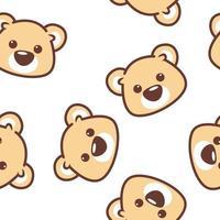 Söt björn ansikte sömlösa mönster vektor