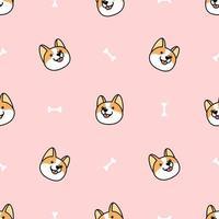corgi hund ansikte tecknade seamless mönster vektor