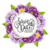 Lila blommig inbjudningskort