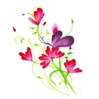 Vackra akvarellpink och röda blommor vektor