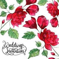Hochzeits-Blumeneinladungs-Karte vektor