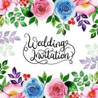 Blommig inbjudningskort för akvarell