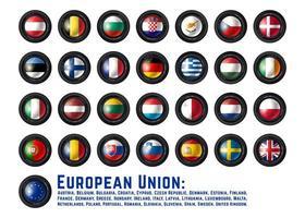 Satz des Kameraobjektivs mit Flaggen der Europäischen Gemeinschaft