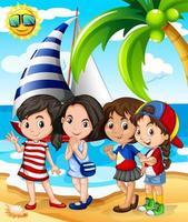 Flickor som har kul på stranden