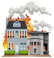 Feuerszene im Haus vektor