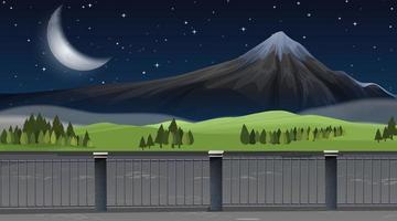 Ett naturberglandskap på natten vektor