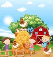 Flickor och kycklingar på gården vektor