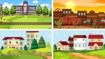 Satz von vier verschiedenen Szenen von Gebäudeaußenbereichen
