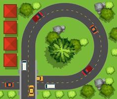 Luftbild von Autos fahren um den Kreis vektor