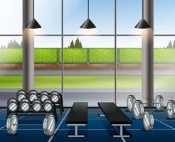 Inuti tyngdlyftningsrum med bänkar