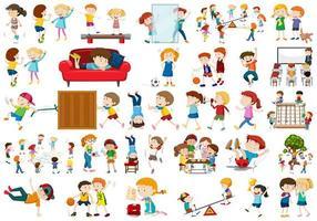 Reihe von aktiven Kinder Zeichen vektor