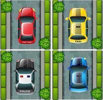 Fyra bilar parkerade på vägen vektor
