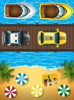 Strandscen med båtar och bilar