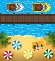 Luftbild von Menschen am Strand und Boote im Meer
