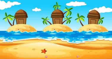 Szene mit Hütten auf der Insel