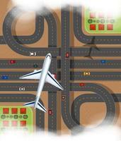 Flygplats med flygplan som flyger över det uttryckliga sättet