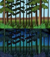 Skogsscen på dagtid och nattetid vektor