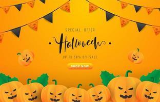 Halloween bakgrund med festflaggor och pumpor