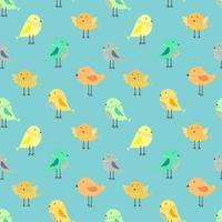 Nette Vögel mit blauem nahtlosem Musterhintergrund
