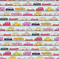 Seamless mönster med bil doodle bakgrund