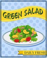 Grüner Salat auf Menüplakat vektor
