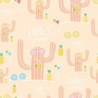 Hello Summer sömlös kaktusmönsterbakgrund