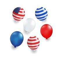 Mehrfacher Farbenballon mit der USA-Flagge gestreift vektor