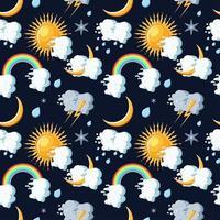 Nahtloses Muster der Wetterikonen mit Sonne, Wolken, Mond, Regenbogen, Regen, Schnee und Blitz.