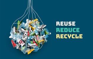Rette die Welt vor Plastik durch Wiederverwendung Reduzieren und recyceln vektor