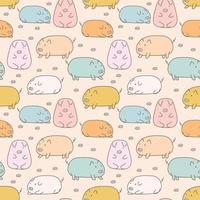 Handritad söt gris sömlös bakgrund vektor