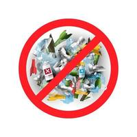 Kein Müll oder Plastik im realistischen Stil vektor