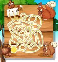 Spiellabyrinthschablone mit Eichhörnchen und Nüssen