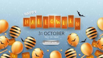 Happy Halloween Banner eller bakgrund med Halloween text vektor