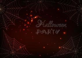 Glödande spindelbanor och Halloween-partytext på mörkbrun bakgrund