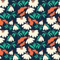 Nahtloses Muster mit Kamillenblumen und -blättern auf dunkelblauem Hintergrund