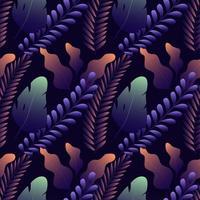 Nahtloses Muster mit verschiedenen exotischen Blättern auf dunkelblauem Hintergrund.