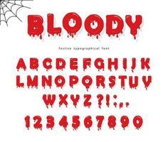 Halloween Blut Schrift. Helle rote flüssige Buchstaben und Zahlen ABC. vektor