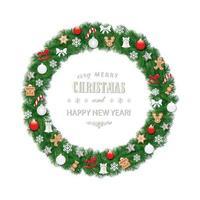 Julkransrunda ram dekorerad med pepparkakakakor, bollar och snöflingor vektor