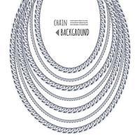 Halskette der silbernen Ketten getrennt auf weißem Hintergrund