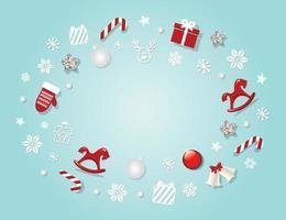 Julbakgrund med traditionella stjärnor, klockor, hästar och snöflingor