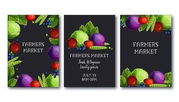 Uppsättning för bondemarknadsaffischmall med färska grönsaker och frukter och text