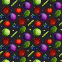 Seamless mönster med feshgrönsaker, frukt, bär och gröna blad