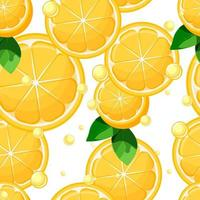 Citronskivor och halvor med blad och sömlösa mönster