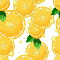 Zitronenscheiben und -hälften mit nahtlosem Muster der Blätter und der Blasen