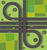 Flygplats med trafik på vägar genom landsbygden vektor