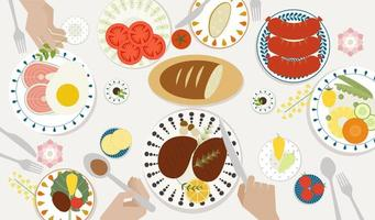 Draufsicht Abendessen am Tisch vektor