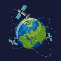 Satelliter som kretsar runt jorden vektor