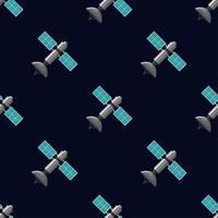 Seamless satellitmönster på mörkblått