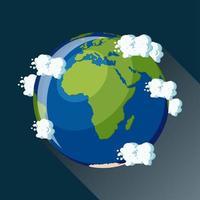 Afrika karte auf dem planeten erde ansicht aus dem weltraum vektor