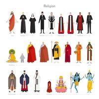 Gudar och präster i olika religioner. vektor